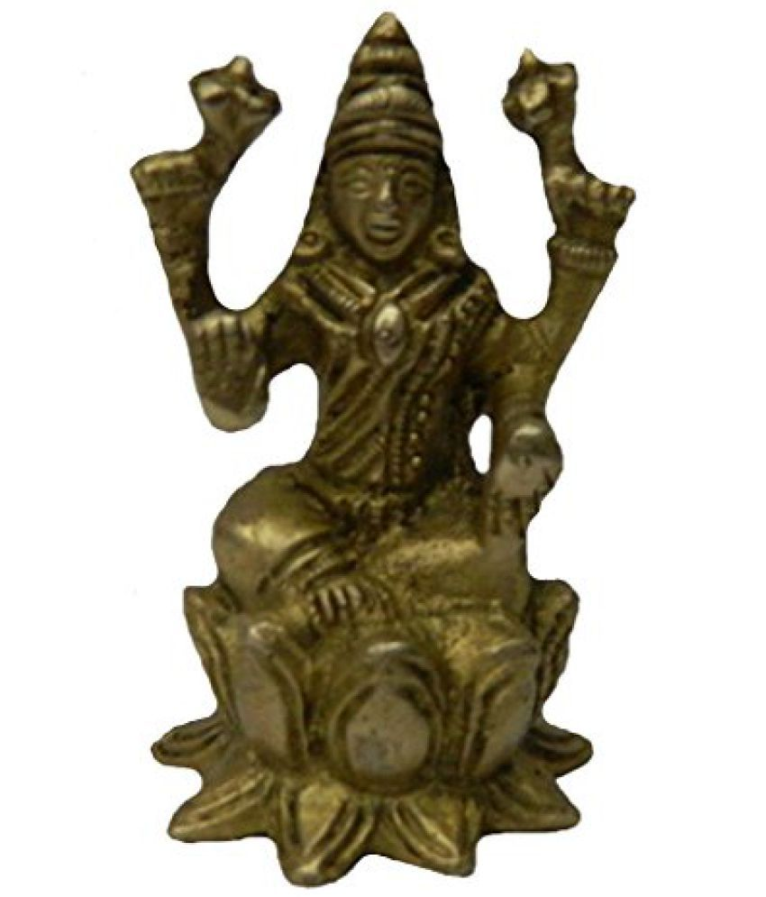 Brass Metal Laxmi Sitting On Kamal medium in size in Handicraft India art by Bharat Haat  BH02755
