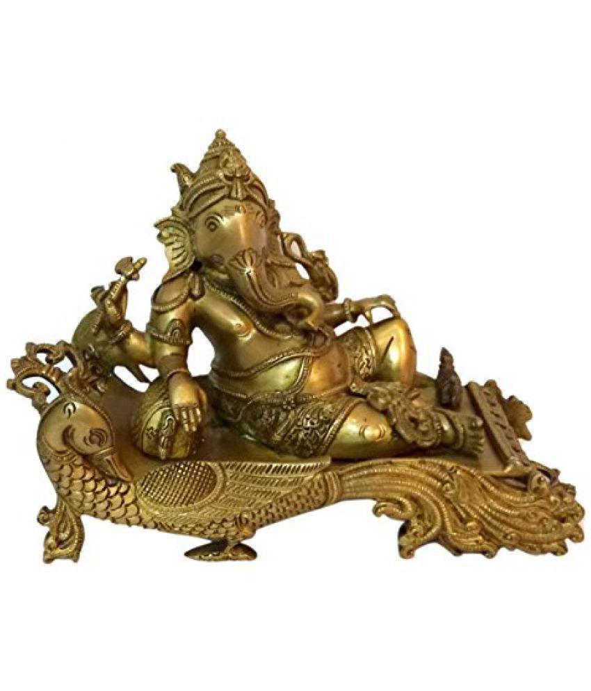 Brass Metal Sitting Ganesh Statue Collectible art by Bharat Haat  BH01369