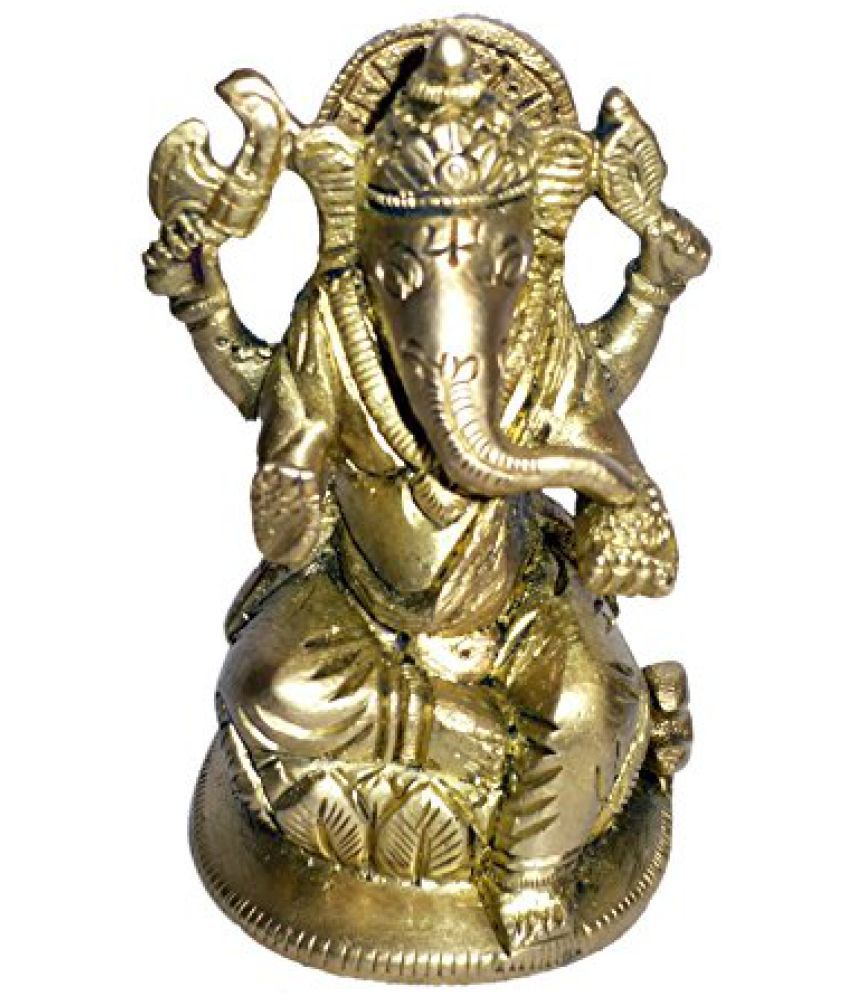 Brass Metal statue of Lord Ganesh Sitting Collectible Statue by Bharat Haat  BH01383