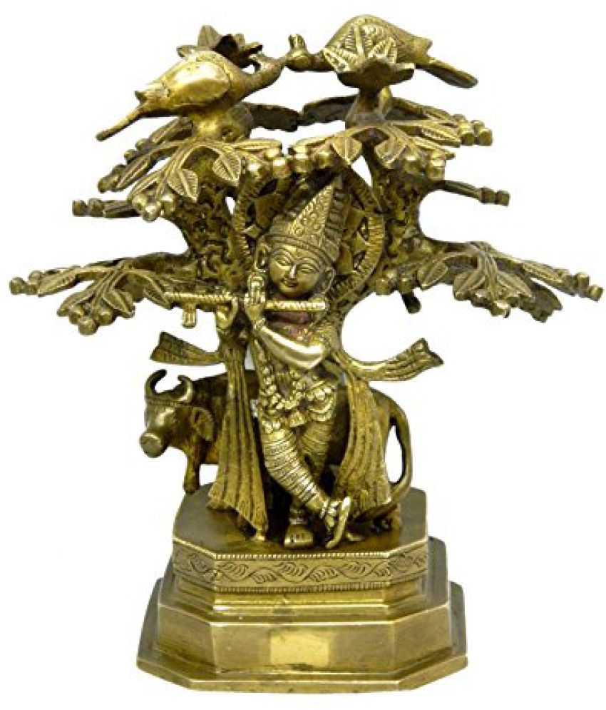 Pure Brass Metal Krishna With Tree Statue in Fine Finishing and Decorative art by Bharat Haat  BH04032