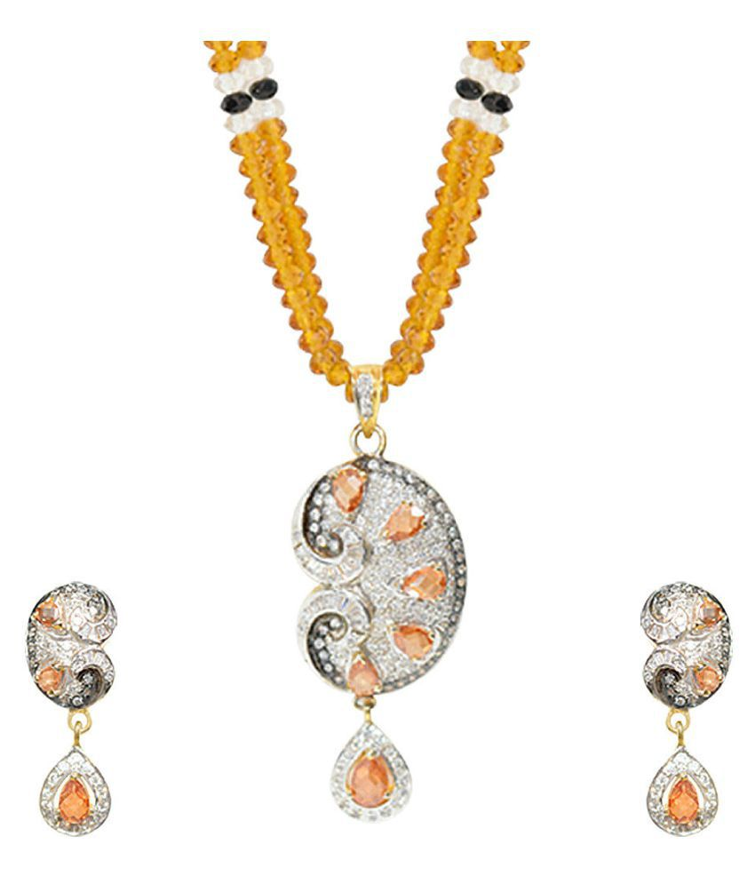Yellow Beaded Cz Studded Necklace Set