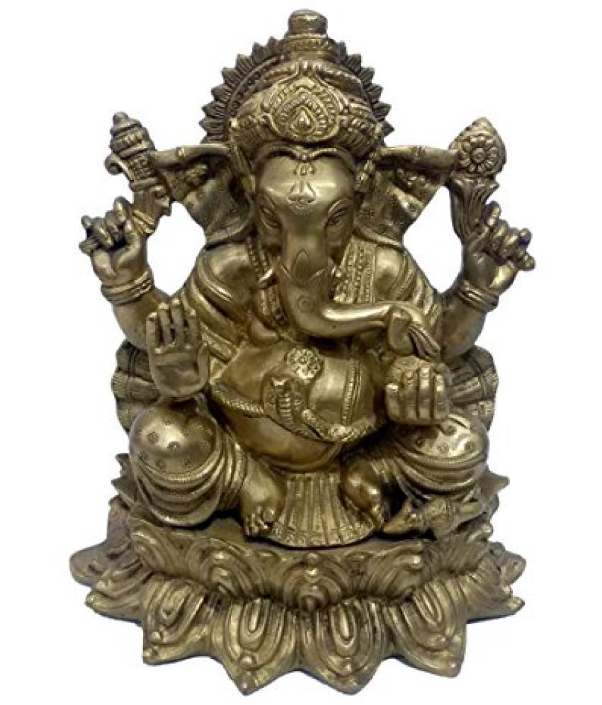 Pure Brass Metal Ganesh Sitting on Kamal in Decorative Statue by Bharat Haat  BH04747