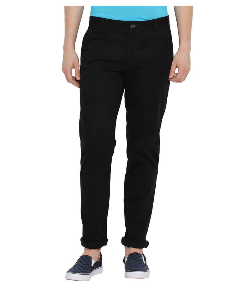 Parx Black Slim Flat Trousers