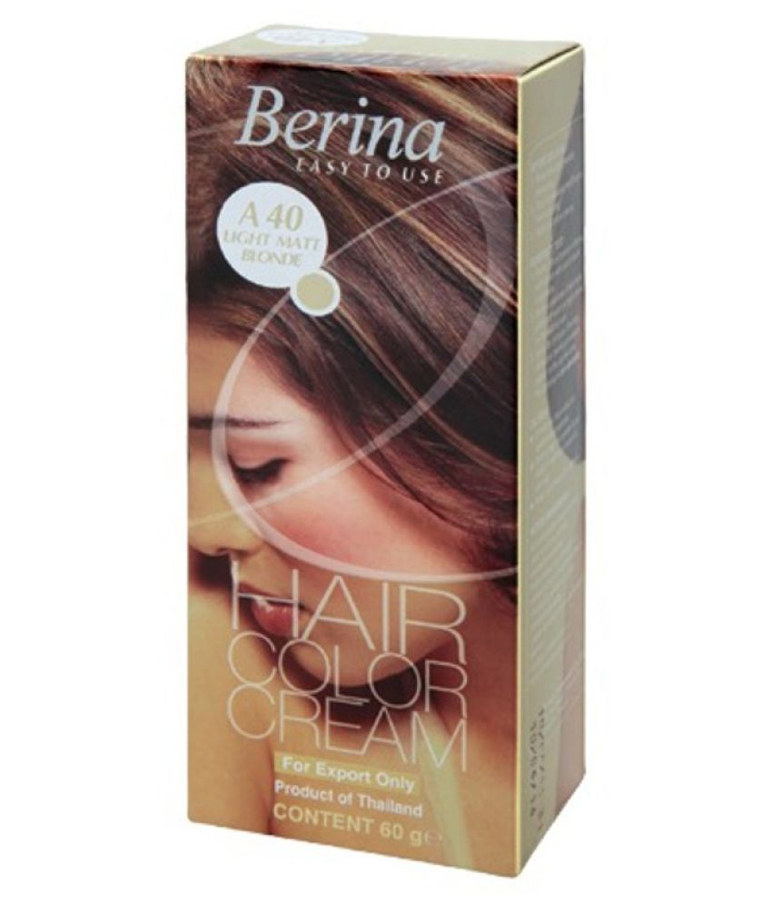 BERINA HAIR CCOLOR CREAM A40 LIGHT MATT BLONDE Permanent Hair Color Blonde 60 gm