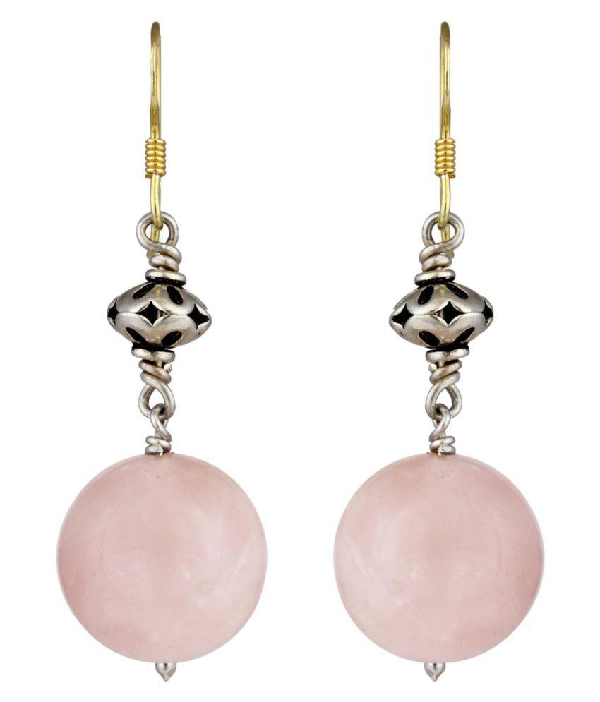 MirrorWhite 92.5 Silver Quartz Drop Earrings