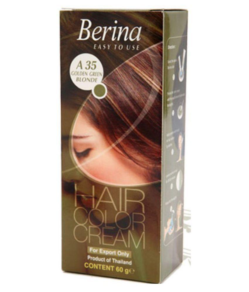 BERINA HAIR CCOLOR CREAM A35 GOLDEN BLONDE GREEN Permanent Hair Color Golden Blonde 60 gm