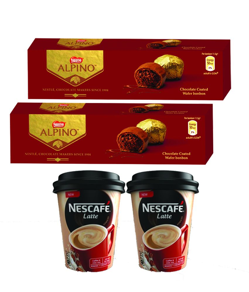 Nestle ALPINO 5-Bonbon Chocolate 57.5g (Pack of 2) + NESCAFE Latte Xpress Coffee Cup Pack 25g (Pack of 2)