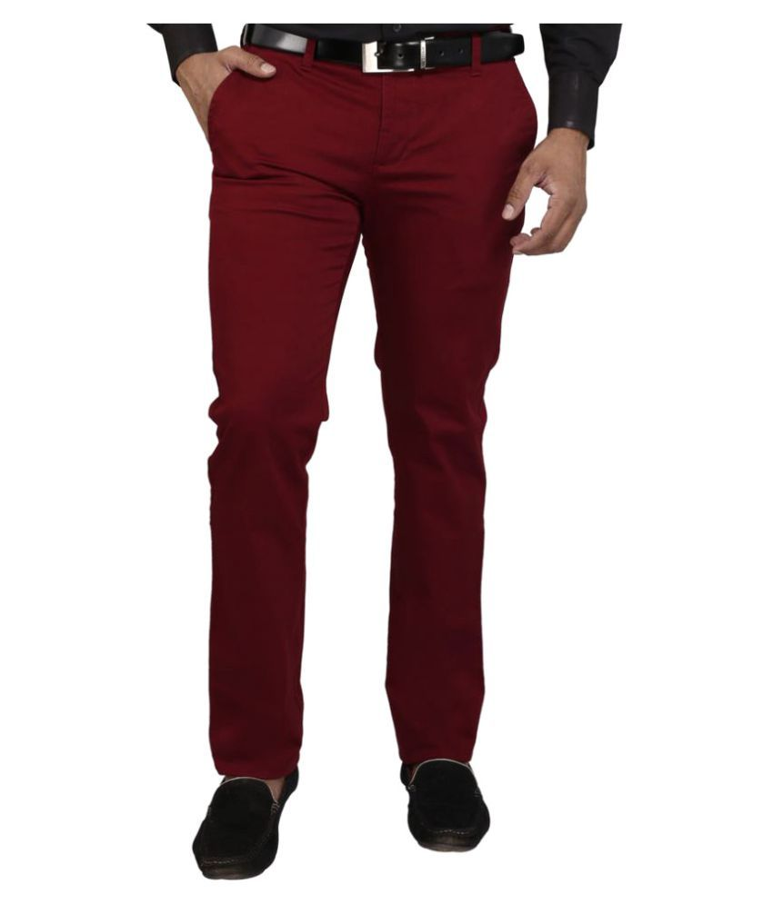 DRM Apparels Maroon Regular Flat Trousers