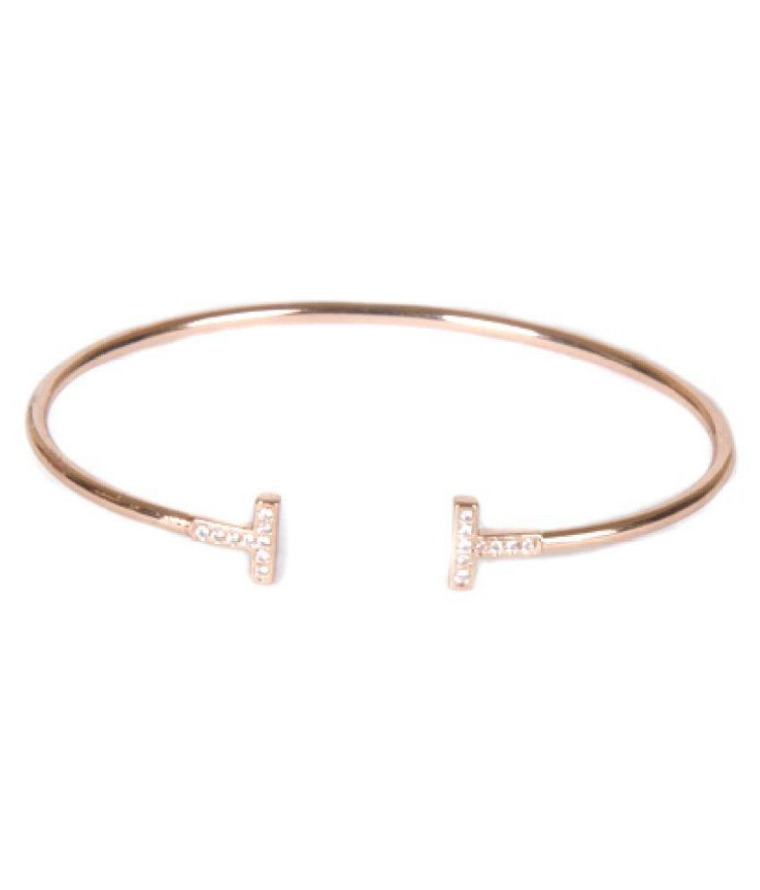 The Cats Pajama Pave T Bangle Rose Gold