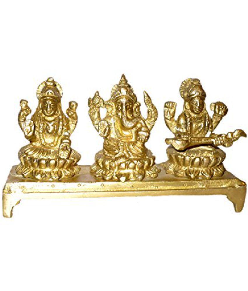 Brass Metal Lord Ganesh, Godess Laxmi & Saraswati Sitting in Blessing On Bajath by Bharat Haat  BH01423
