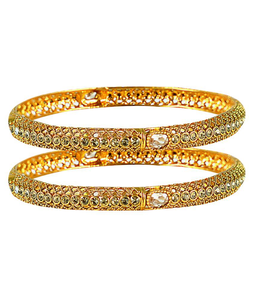 Kalyani Covering Golden Pair of Bangles