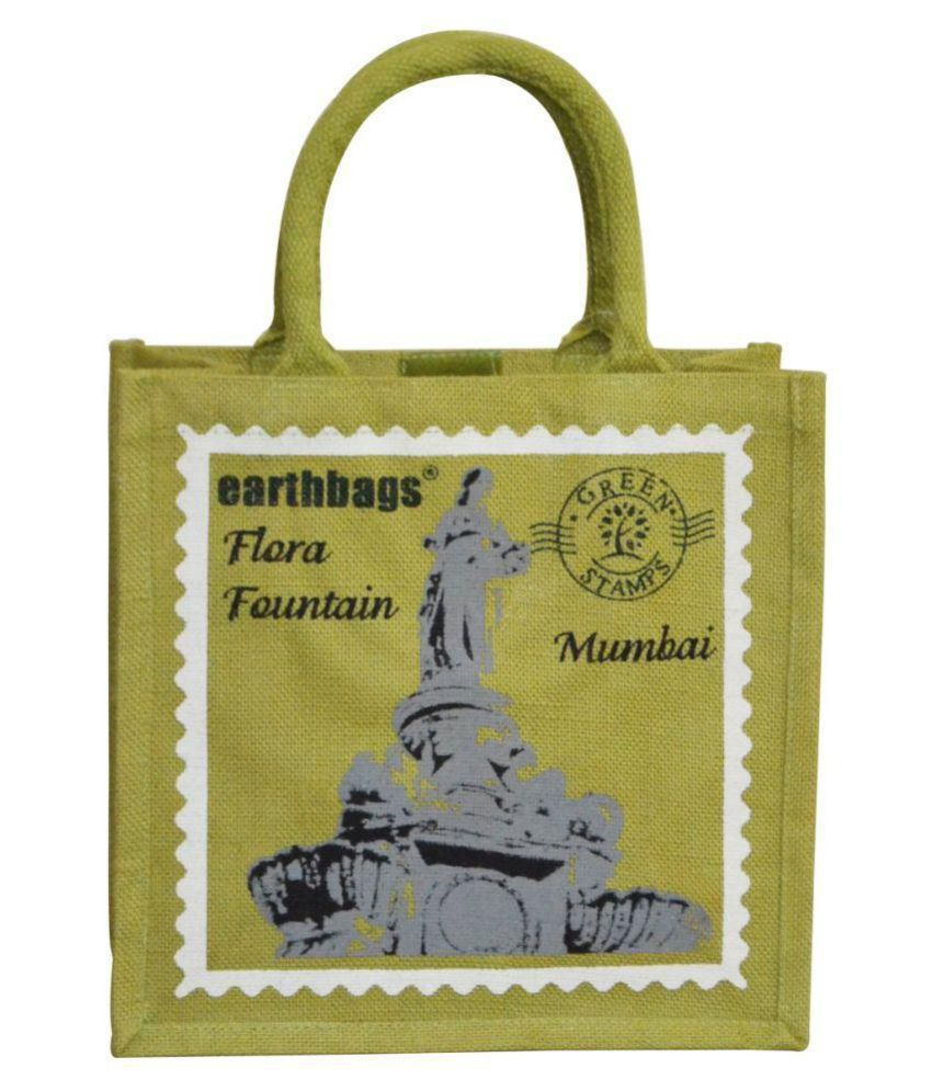 Earthbags Green Jute Tote Bag