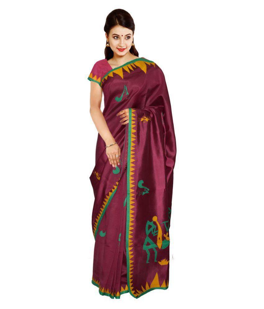 Kaushika Sarees Purple Raw Silk Saree
