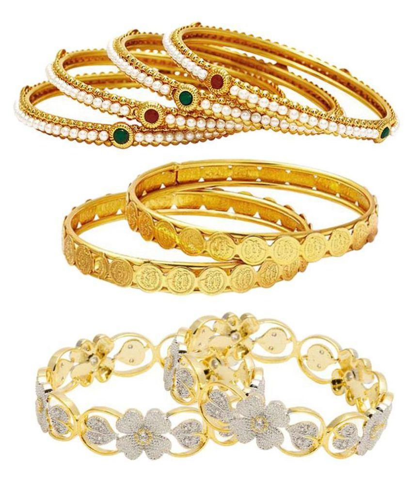 Jewels Gold Alloy Enameled Sparkling Gorgeous Fashionable Bangles Combo For Women & Girls Pack of 8