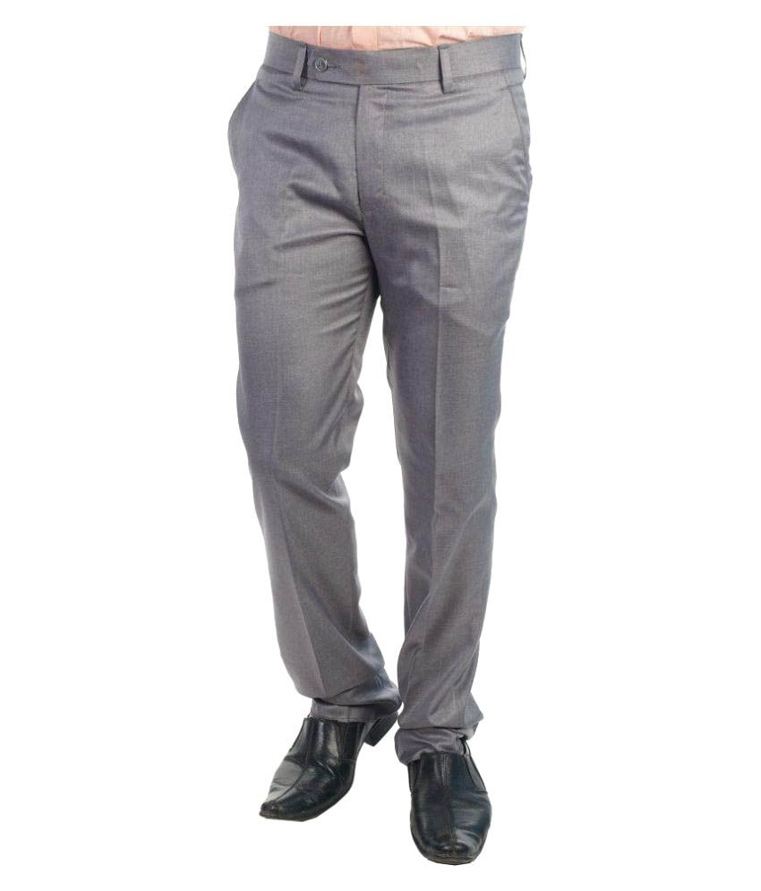Tabard Grey Slim Flat Trousers