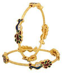 Jewels Gehna Antique Golden Peacock Artificial Fashion Designer Bangles Set For Women & Girls (Pack of 2)