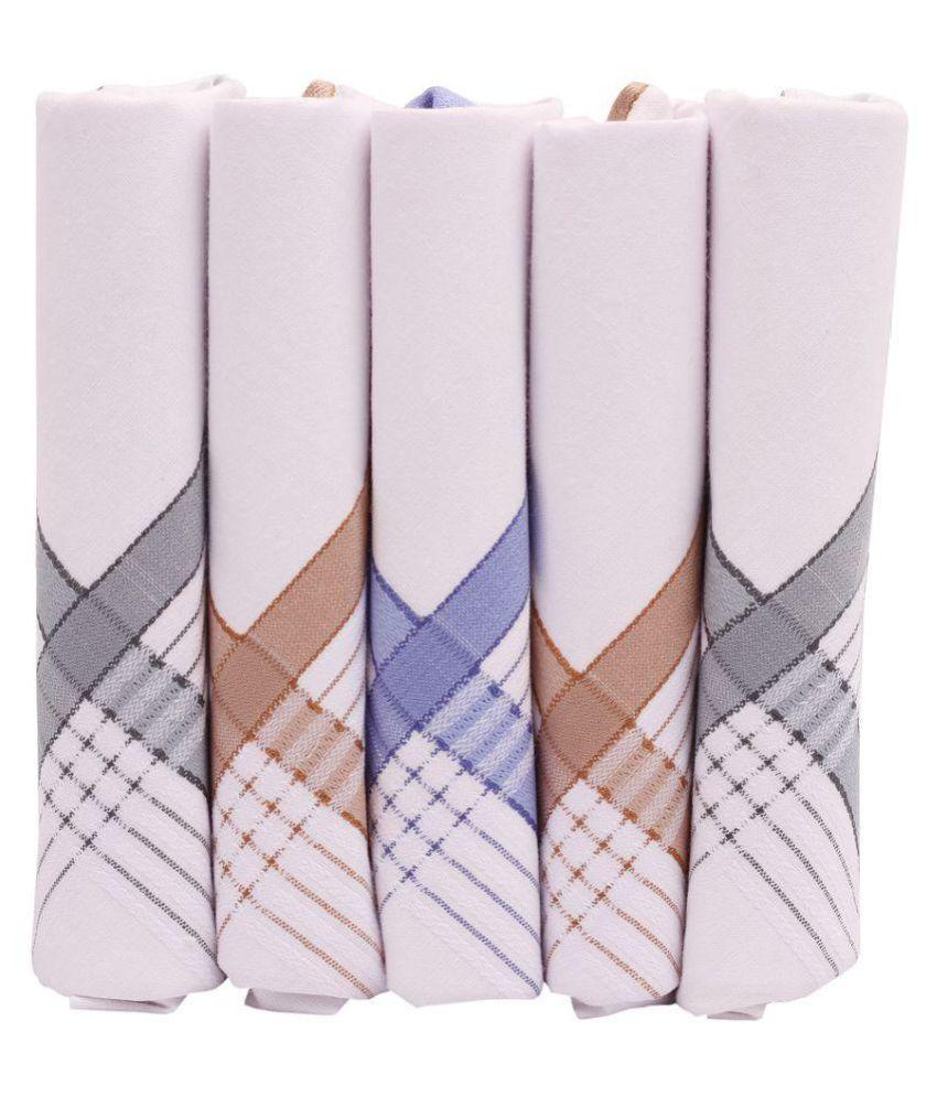 Sir Michele Men White100% Cotton Woven Border Handkerchiefs In Gift Box (Pack Of 5)