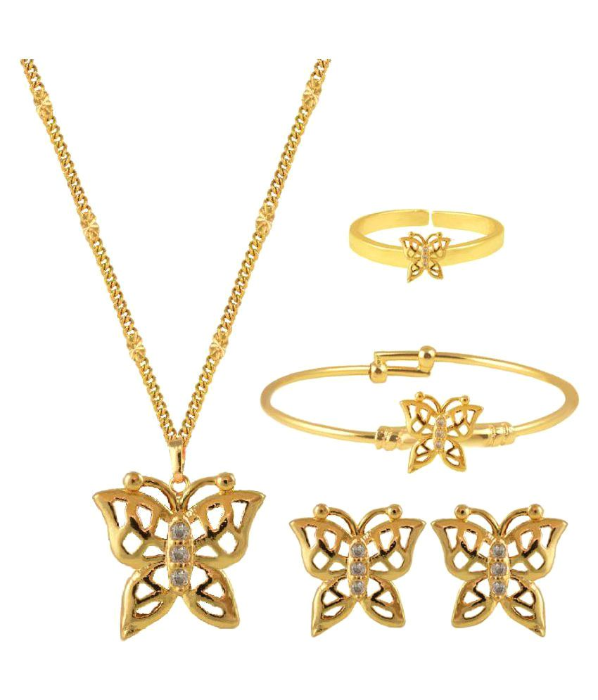 Glitters Online Golden Brass & Copper Jewllery Set