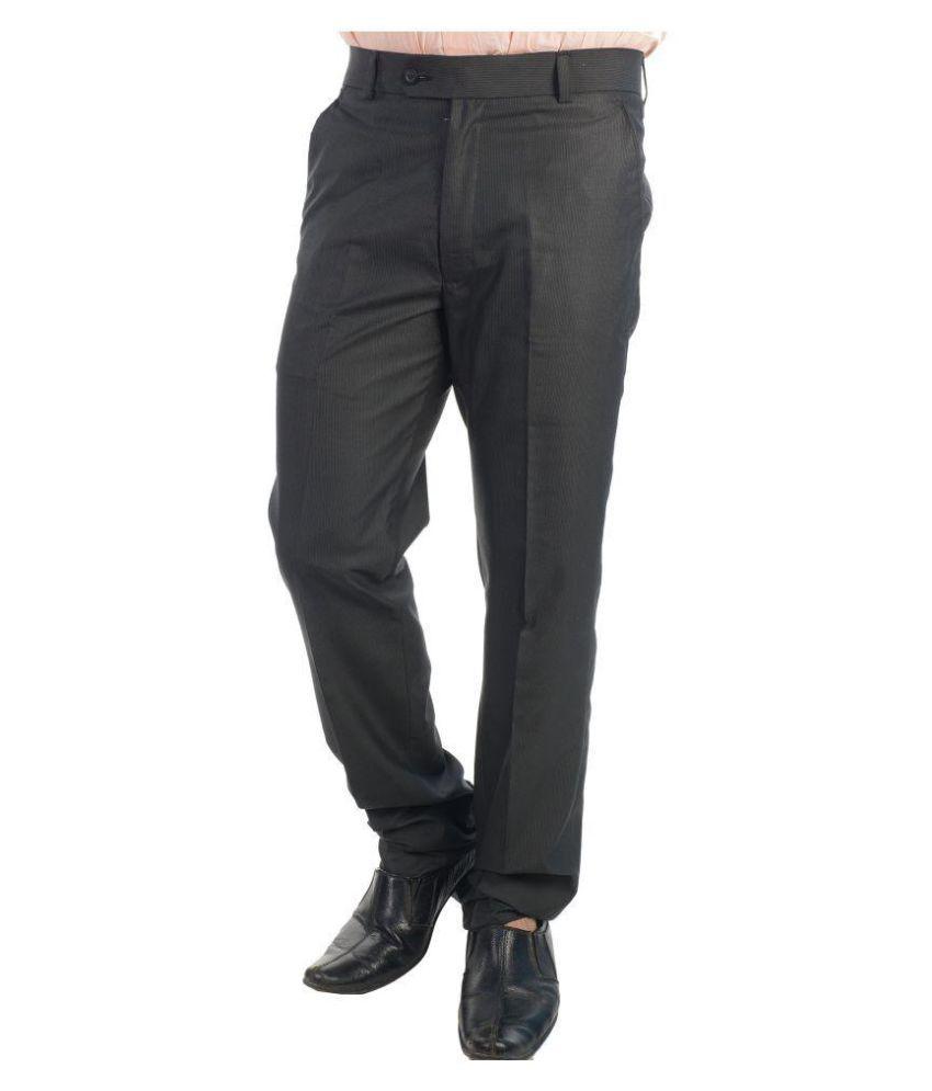 Tabard Black Slim Flat Trousers