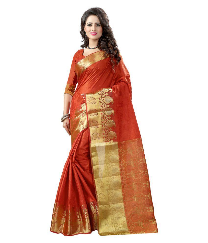 Fashions World Orange Banarasi Silk Saree