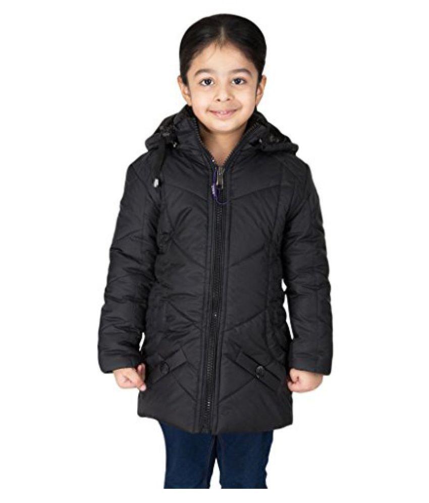 Asst Full Sleeve Hooded Regular Fit Polyester Solid Bomber Jacket for Girl's (5-6) Years