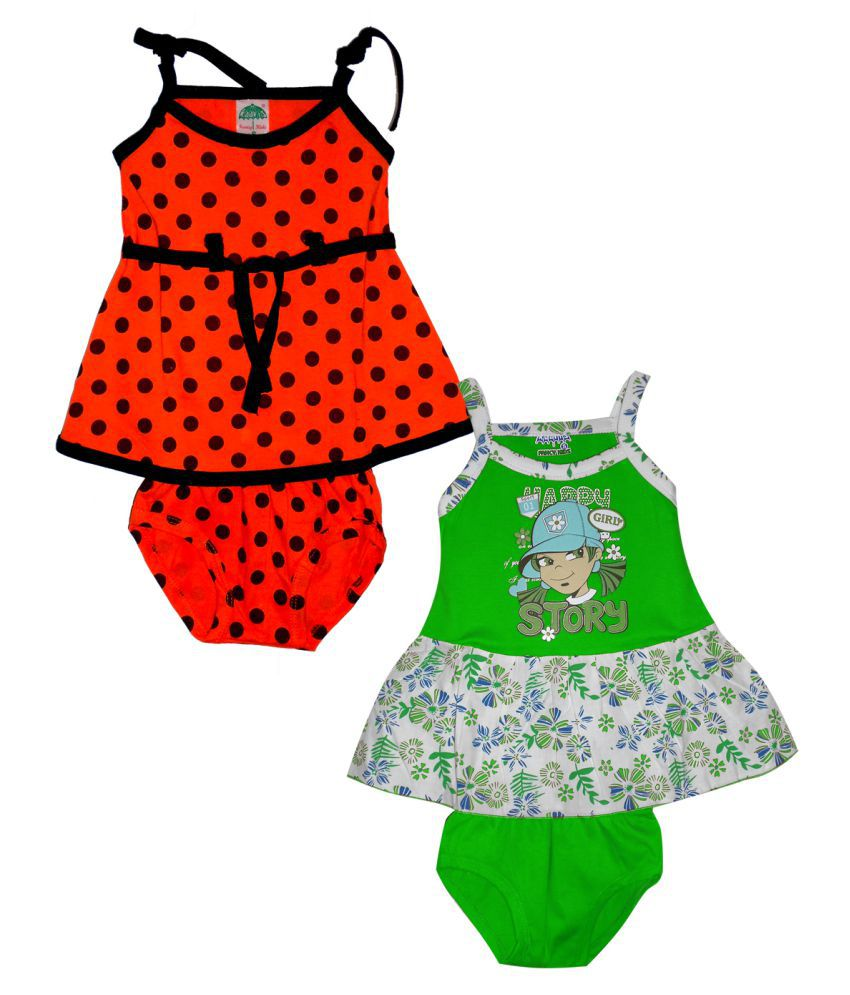 Awesome Kidz Pack of 2 Style Cotton Printed Dress