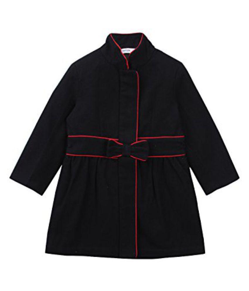 Beebay Girls 100% Cotton Woven Mandarin Collar Coat (Black)