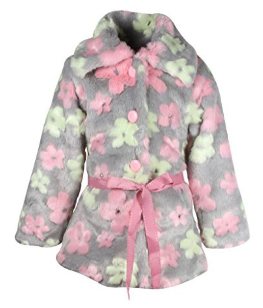 Cutecumber Girls Fur Floral Grey Full Sleeve Jacket