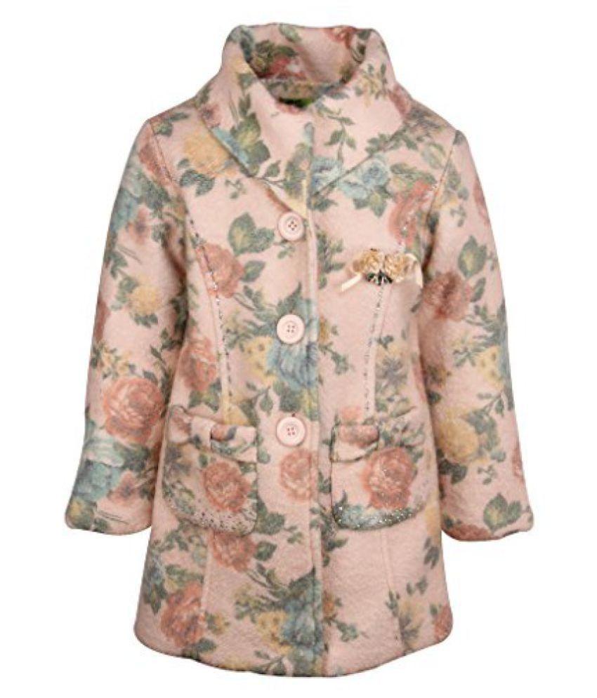 Cutecumber Girls Peach Acrylic Full Sleeve Jacket