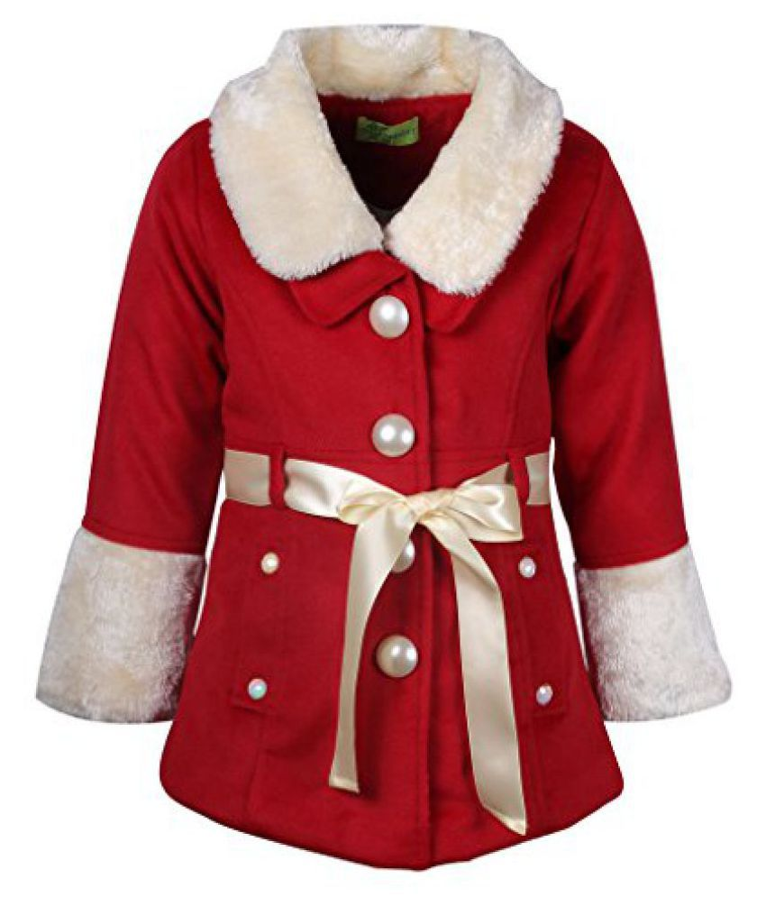 Cutecumber Girls Polyester Embelished Red Fll Sleeve Jacket