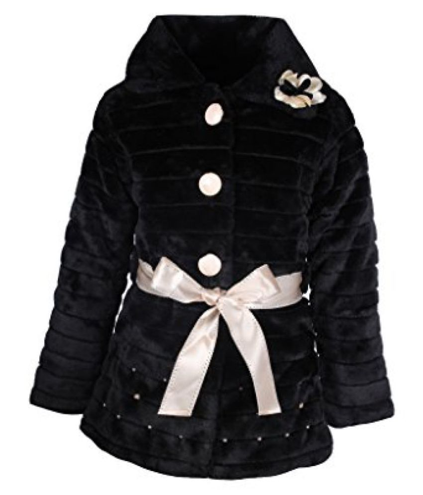 Cutecumber Girls Polyester Embellished Black Full Sleeve Jacket