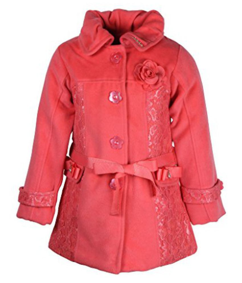 Cutecumber Girls Polyester Embellished Orange Full Sleeve Jacket