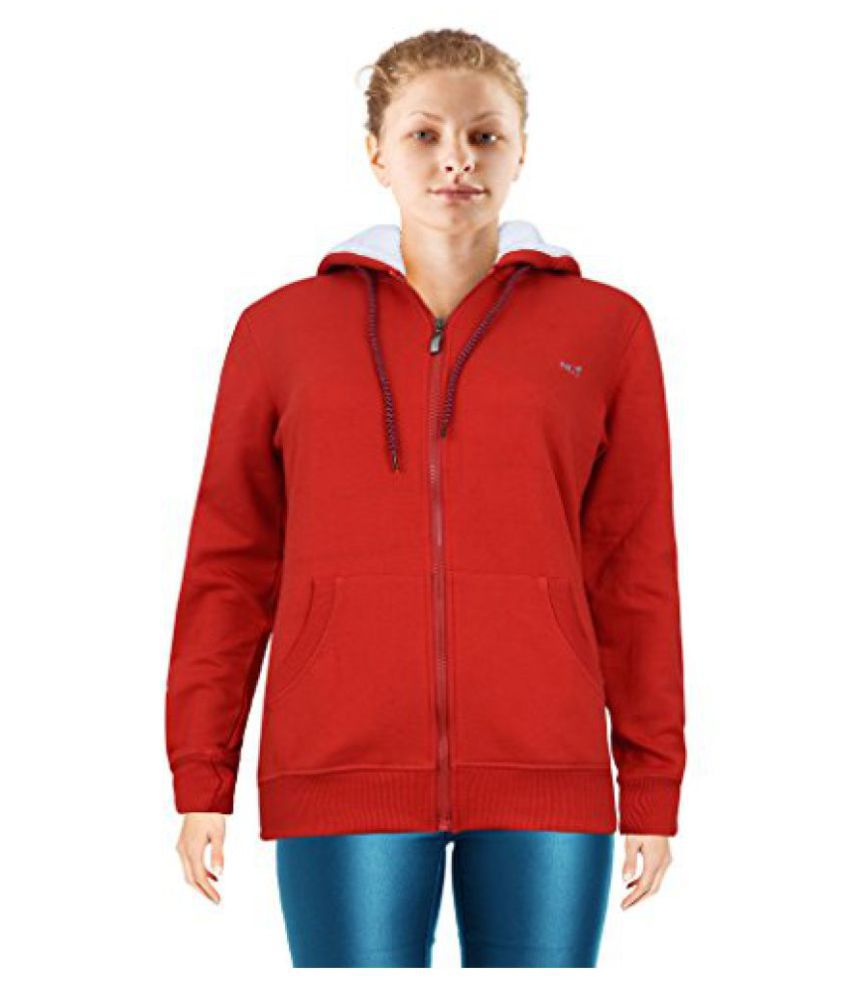 NGT Full Sleeve Red Color Hooded Sweatshirt For Women in High Quality.