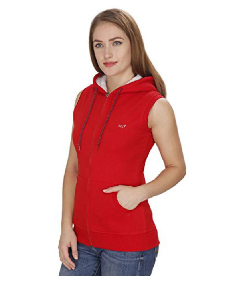 NGT Sleeveless Red Sweatshirt For Women.