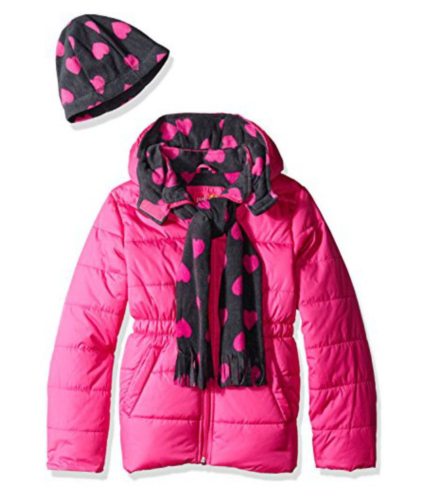 Pink Platinum Girls' Puffer Jacket with Heart Print Lining and Accessories