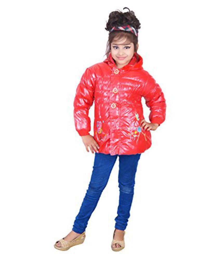 ahhaaaa Girls Red Polyster Jacket (2-4 Years)
