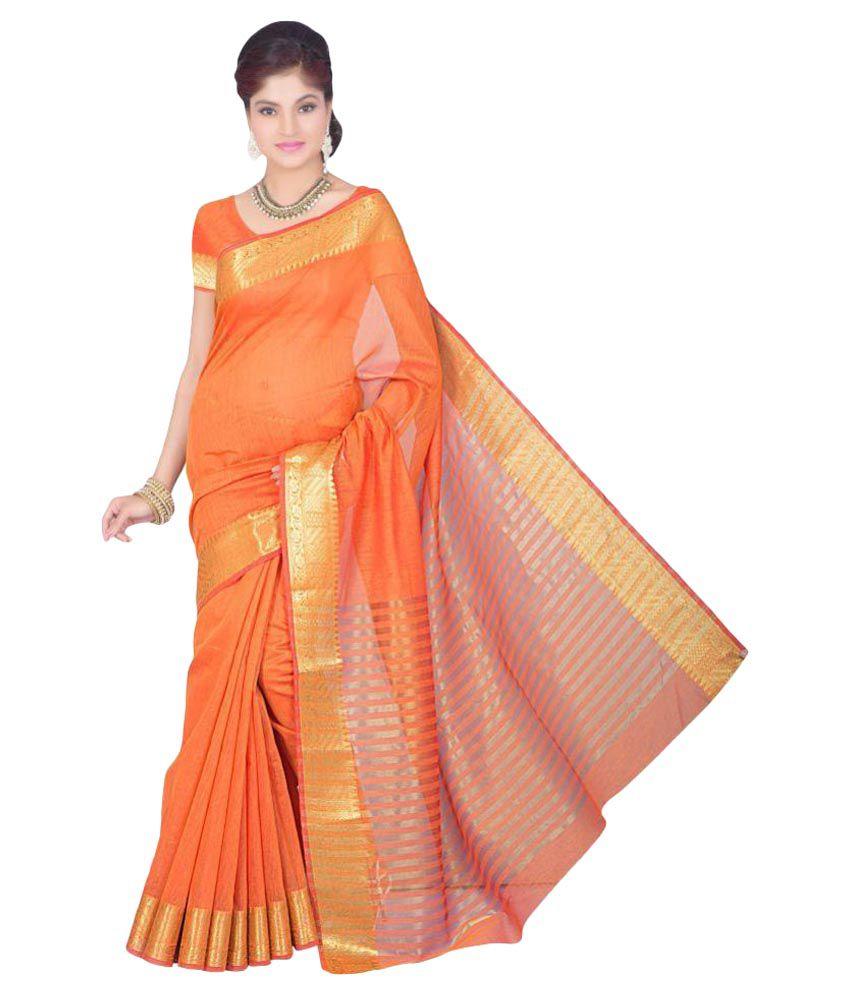 Bhairav Online Orange Cotton Silk Saree