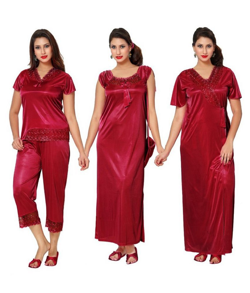 Buy Boosah Satin Nighty & Night Gowns Online at Best Prices in India ...