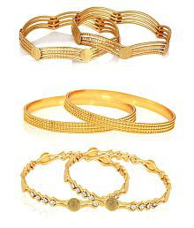 Zeneme Temple Coin Designer Precious Gold Plated Bangles Jewellery for Women