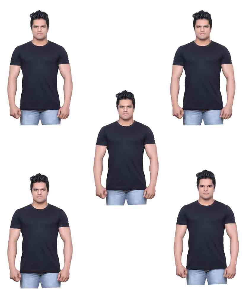 Indiweaves Black Round T-Shirt Pack of 5