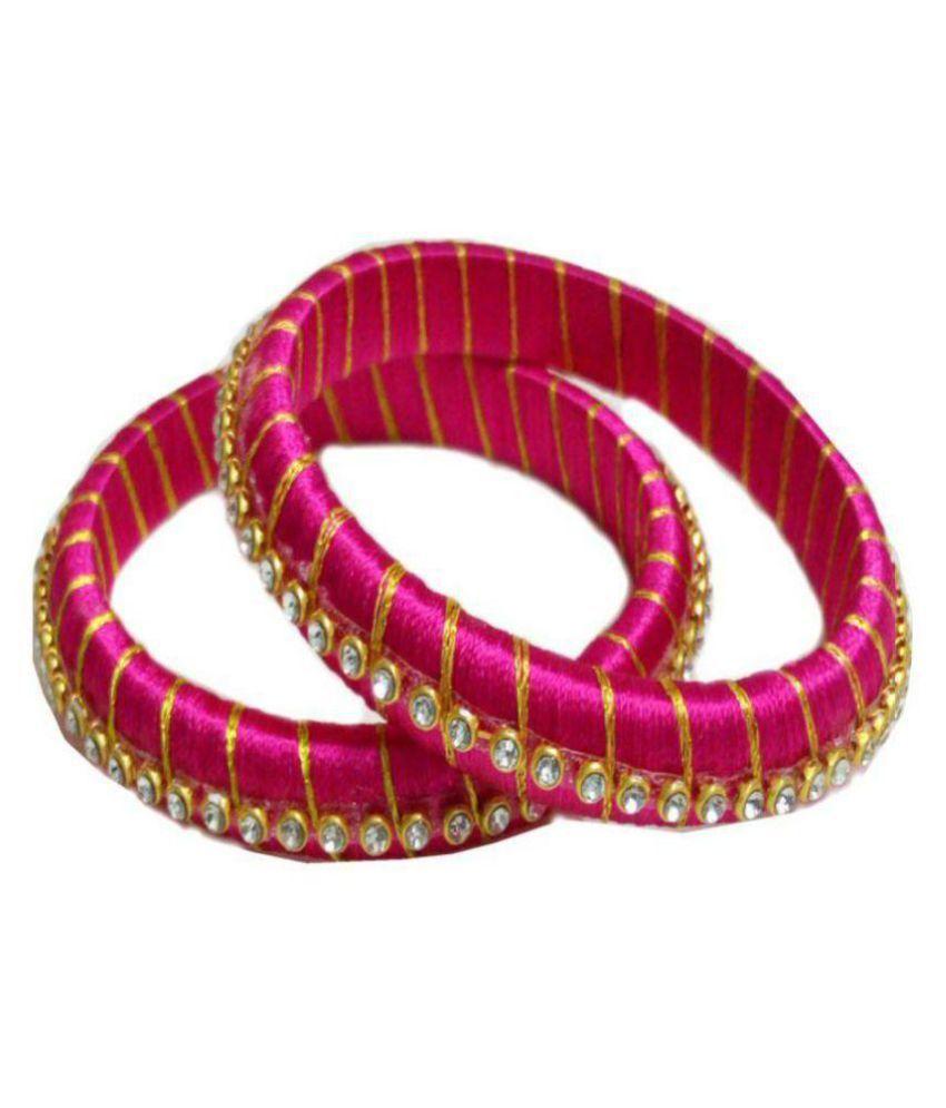 Shreya Creations Pink Silk Thread Pair of Bangles