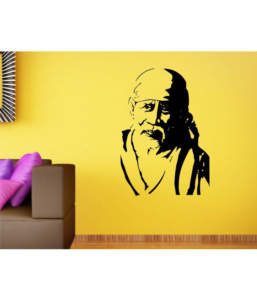 Wall Guru Sai Baba Religious Vinyl Black Wall Stickers - Buy Wall ...