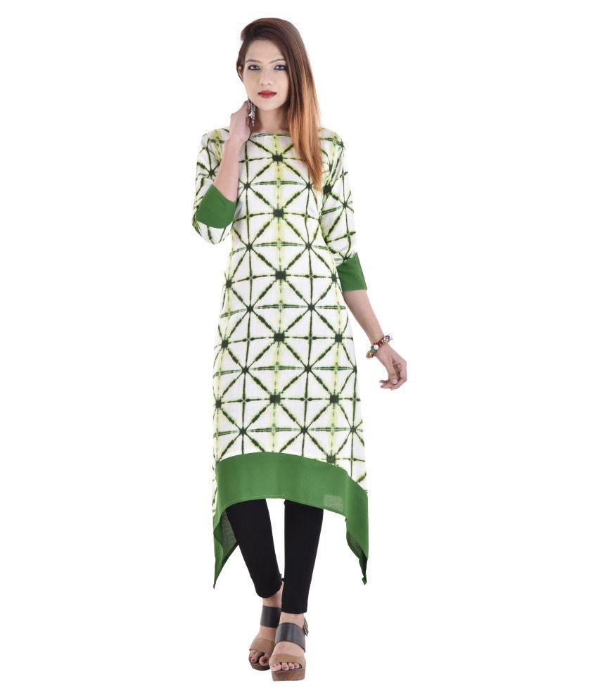 Fashion Bonanza Multicoloured Rayon Asymmetrical Hemline Kurti
