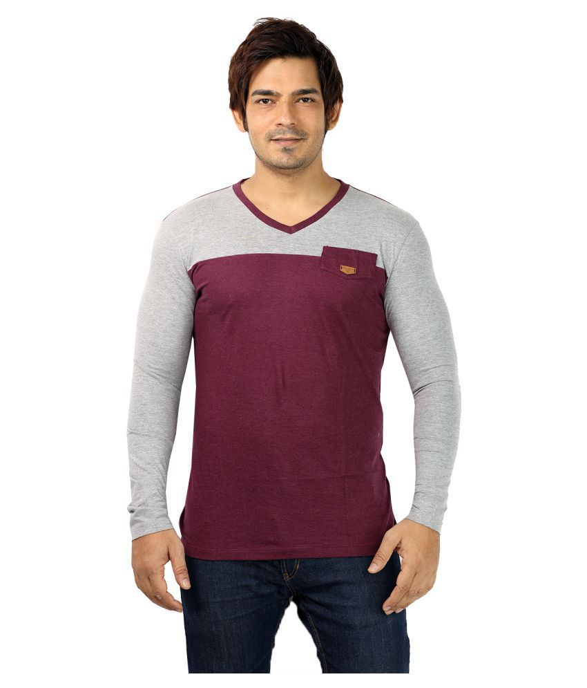 UD Sports Maroon V-neck T-Shirt