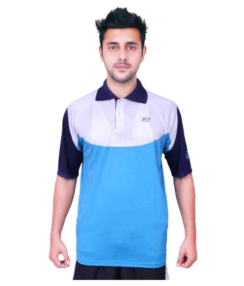 Vector X VTD-001-A Solid Men's Polo Neck Blue, White T-Shirt