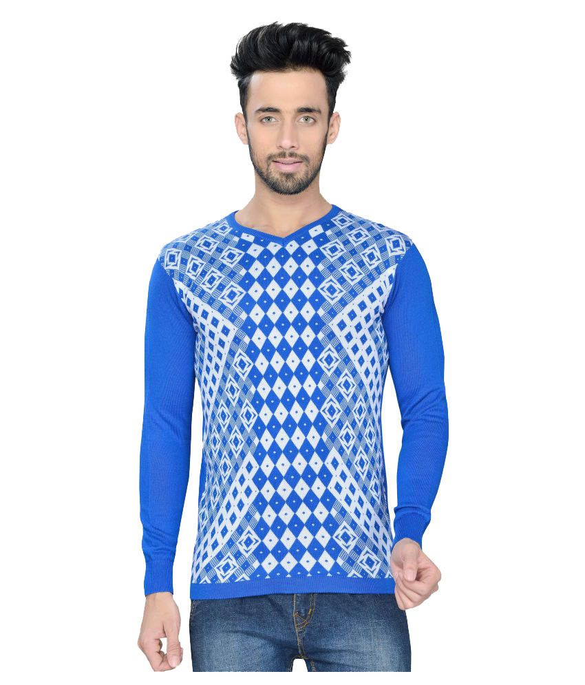 Vivaan Designer Blue V-Neck T-Shirt