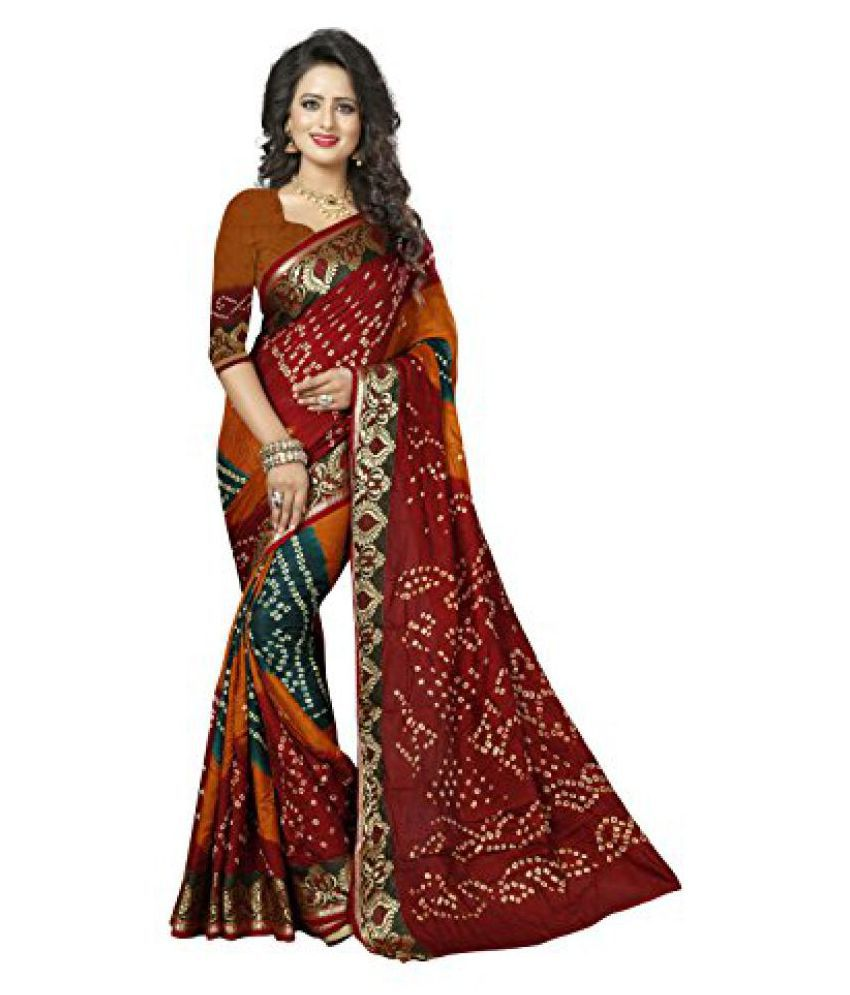 Shree Sondarya Bandhani Multicolor Art Silk Saree