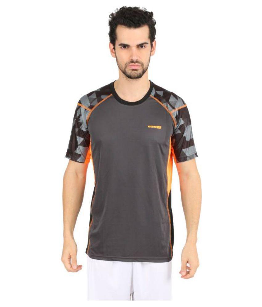 Vector X VTD-008-A Printed Men's Round Neck Grey, Orange T-Shirt