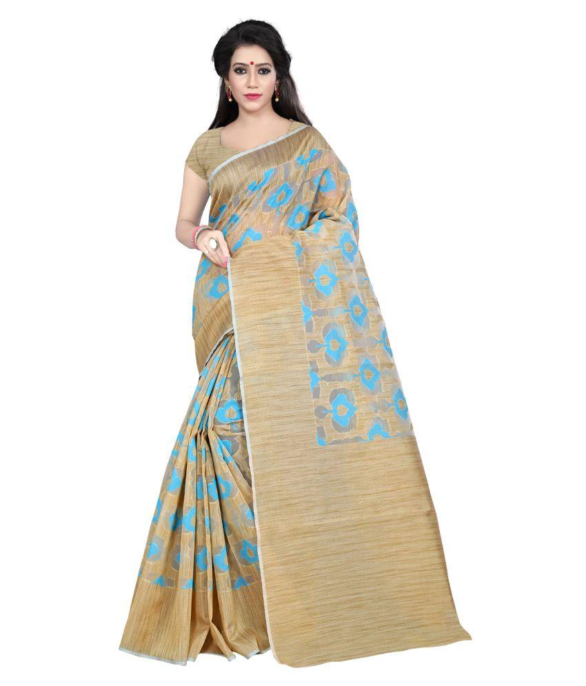 Indi Wardrobe Beige Silk Saree