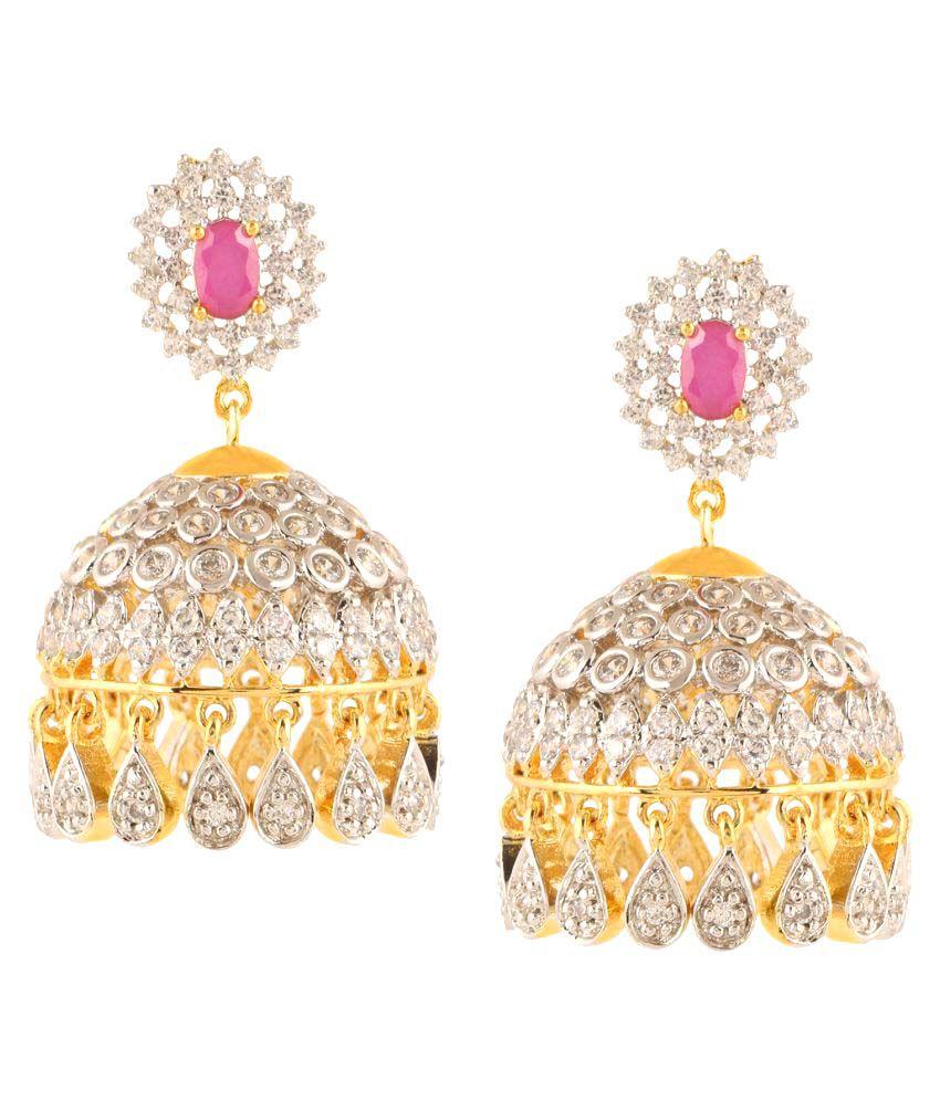 Nitals Jewellery 9k Yellow & Rose Gold Ruby Jhumki
